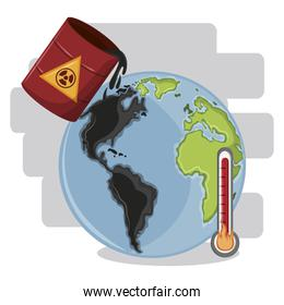 hazardous waste falling over globe and thermometer