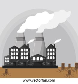 industrial factories with smoke