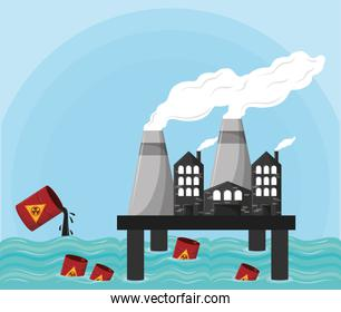 hazardous waste falling over the sea and industrial factories