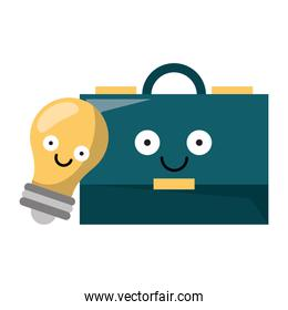 Business briefcase and bulb light vector illustration