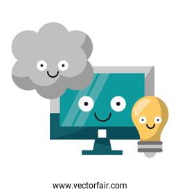 Computer and light bulb with cloud computing vector illustration