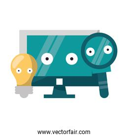 Computer and magnifying glass with bulb light vector illustration
