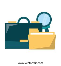 Business briefcase folder and magnifying glass vector illustration