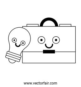 Business briefcase and bulb light in black and white