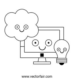 Computer and light bulb with cloud computing in black and white