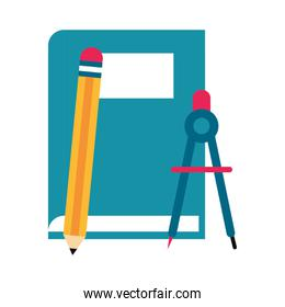 vector illustration book and pencil