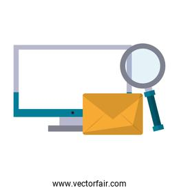 computer with magnifying glass and envelope
