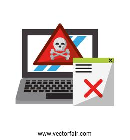 danger sign with computer