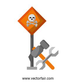 danger sign with tools