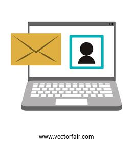 computer and envelope