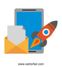 tablet with envelope and rocket