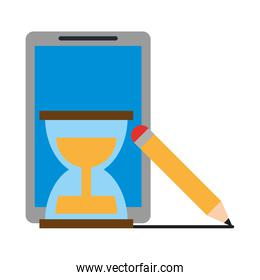 tablet with hourglass and pencil