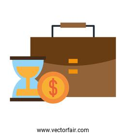briefcase hourglass and coins