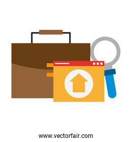 briefcase upload and magnifying glass