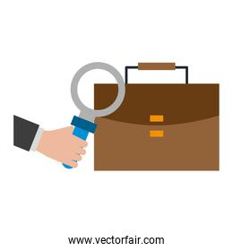 briefcase and magnifying glass