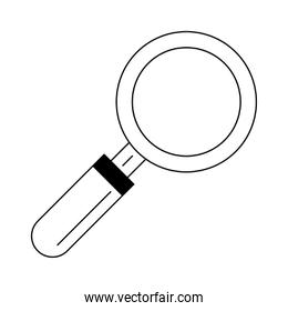 magnifying glass icon in black and white