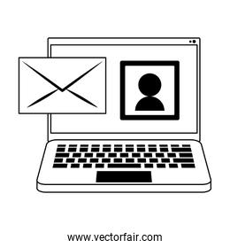 computer and envelope in black and white
