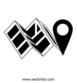 Map and location pin symbol in black and white