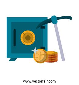Strongbox and cryptocurrency coins with mining pick Vector illustration