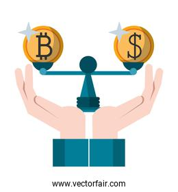 Cryptocurrency and money in balance symbol Vector illustration