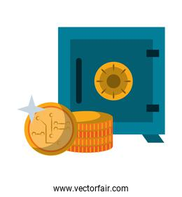 Strongbox and cryptocurrency coins Vector illustration
