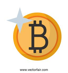 Bitcoin cryptocurrency symbol coin isolated Vector illustration