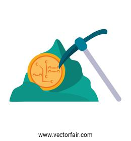 Cryptocurrency mining pick and rock symbol Vector illustration