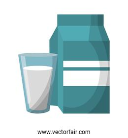 Milk box and glass cup Vector illustration