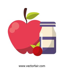 Apple and red fruit with yogurth bottle