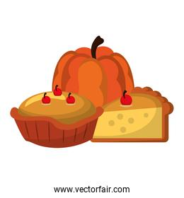 Thanksgiving day food cartoons isolated