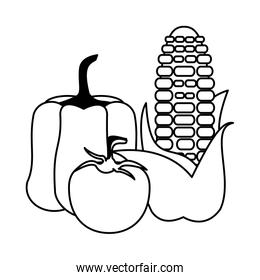 Vegetables fresh food collection cartoon in black and white