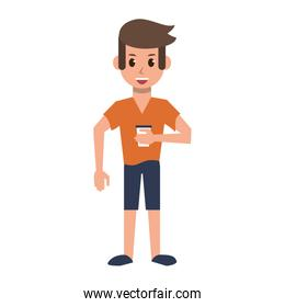 Young man with coffee cup cartoon
