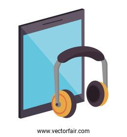 Tablet and music headphones symbols