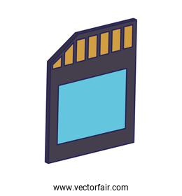 Micro sd portable storage device isolated blue lines