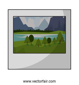 Landscape instant photo isolated cartoon