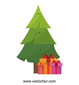 Christmas tree with gift boxes cartoon