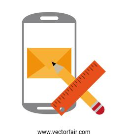 Smartphone email and pencil with ruler symbols