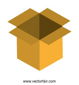 Carboard box open icon isolated