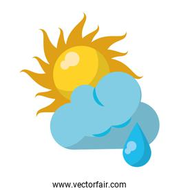 Sun and cloud with raining weather symbol
