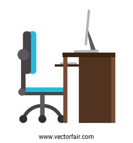 Desk computer with chair office cartoon