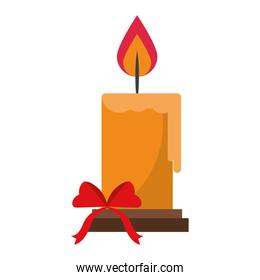 Christmas candle with bow cartoon isolated