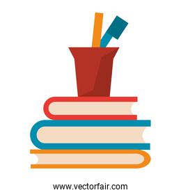 Pencs with cup on books catoons isolated