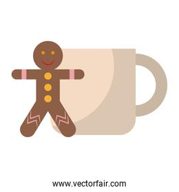 Gingerbread man and coffee cup cartoon