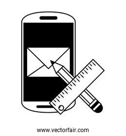 Smartphone email and pencil with ruler symbols in black and white