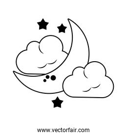 Moon cloud and raining drop in black and white