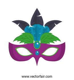 Party mask with feathers cartoons vector illustration