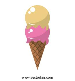 Ice cream cone with two scoops vector illustration