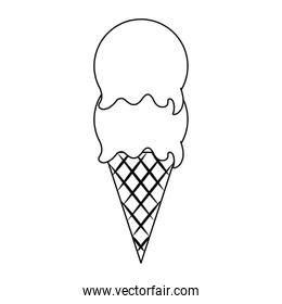 Ice cream cone with two scoops in black and white