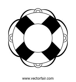 Float navigation lifesaver in black and white