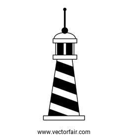 Lighthouse nautical building symbol isolated in black and white